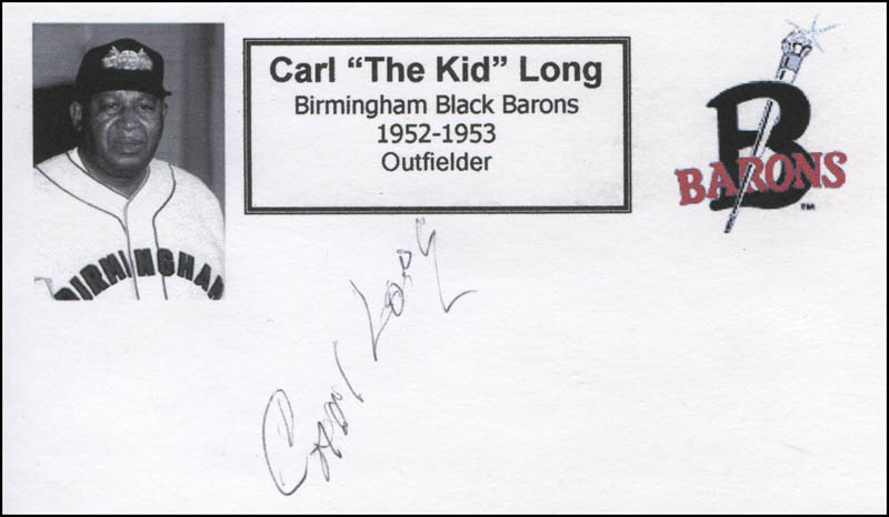 Image 1 for Carl 'The Kid' Long - Printed Card Signed In Ink - HFSID 327994