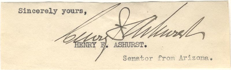 Image 1 for Henry F. Ashurst - Clipped Signature - HFSID 32802