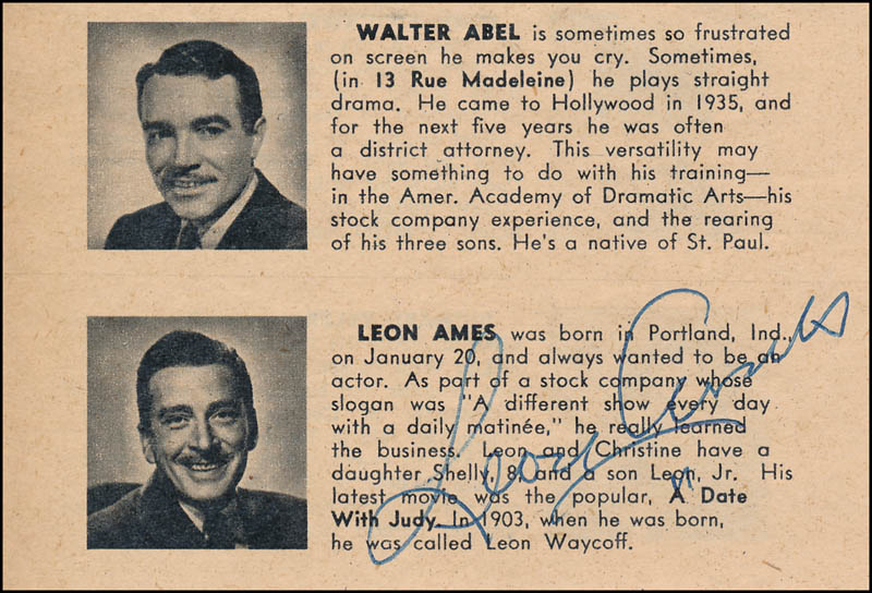 Image 1 for Leon Ames - Directory Photo Signed - HFSID 328065