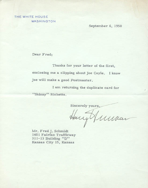 Image 1 for President Harry S Truman - Typed Letter Signed 09/06/1950 - HFSID 3287