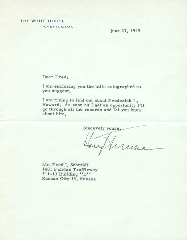 Image 1 for President Harry S Truman - Typed Letter Signed 06/27/1949 - HFSID 3290