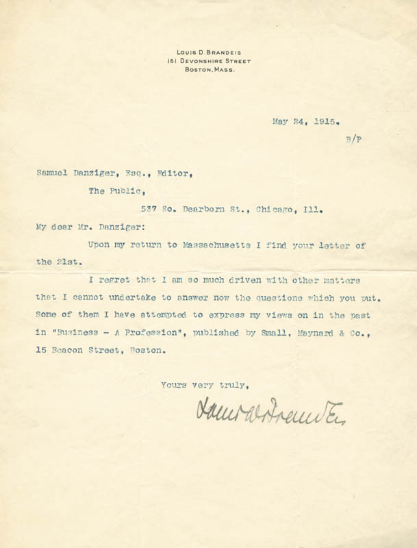 Image 1 for Associate Justice Louis D. Brandeis - Typed Letter Signed 05/24/1915 - HFSID 32915