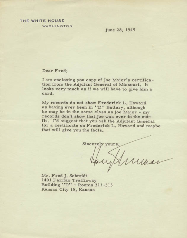 Image 1 for President Harry S Truman - Typed Letter Signed 06/28/1949 - HFSID 3293