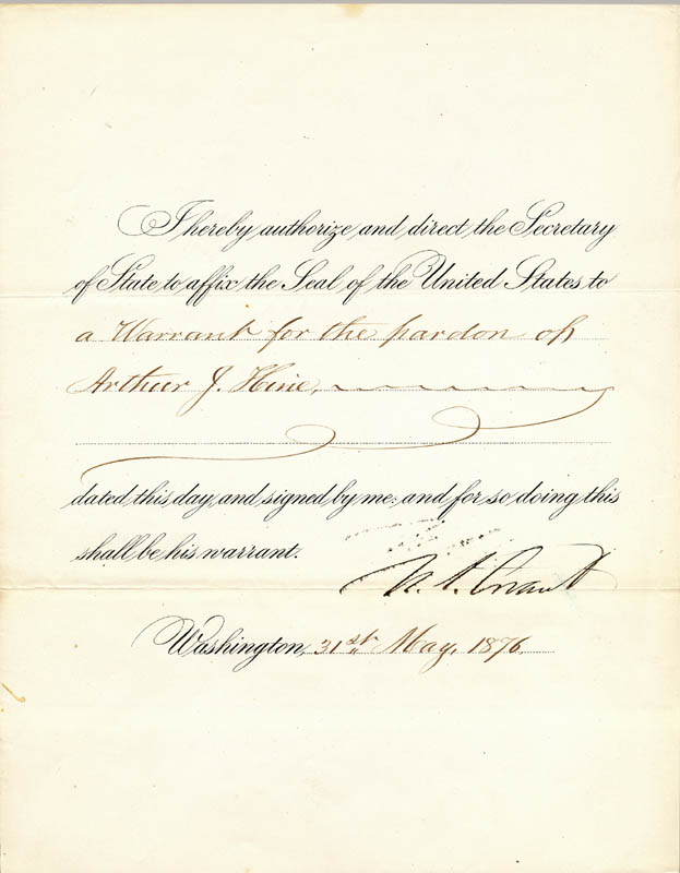 Image 1 for President Ulysses S. Grant - Presidential Warrant Signed 05/31/1876 - HFSID 3304