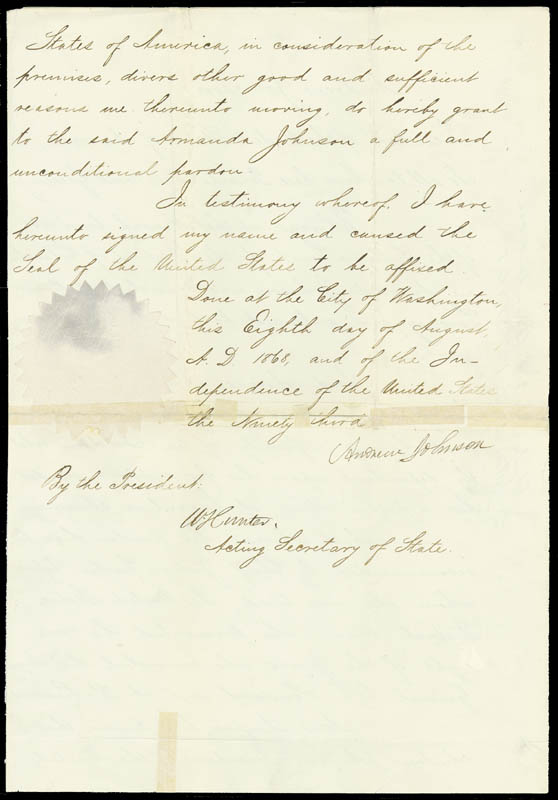 Image 1 for President Andrew Johnson - Pardon Signed 08/08/1868 co-signed by: William Hunter - HFSID 33059
