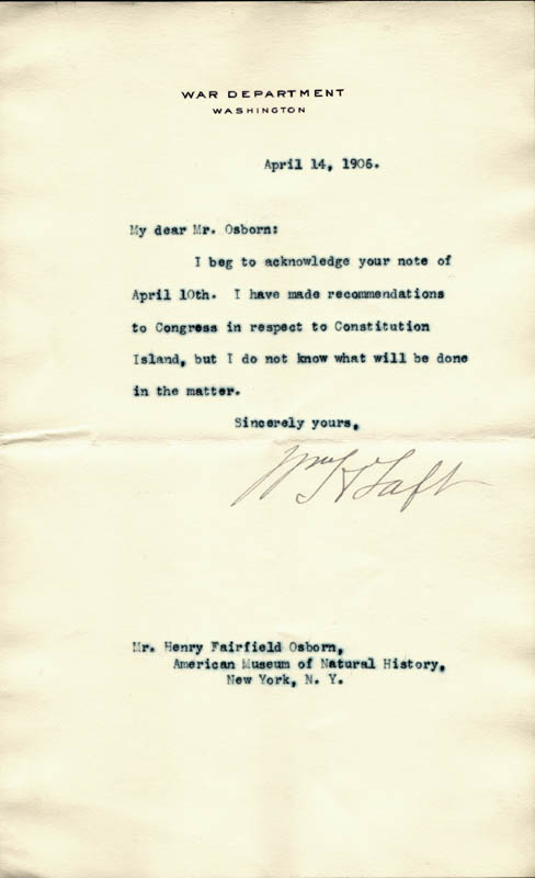 Image 1 for President William H. Taft - Typed Letter Signed 04/14/1906 - HFSID 33095