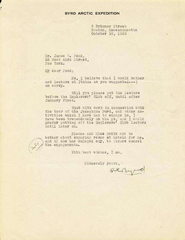 Image 1 for Rear Admiral Richard E. Byrd - Typed Letter Signed 10/10/1926 - HFSID 33559