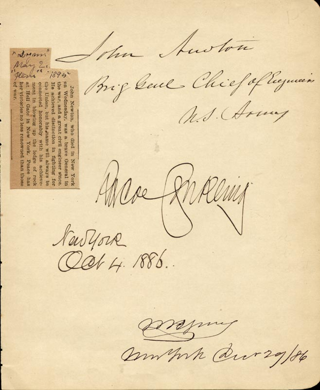 Image 1 for Roscoe Conkling - Autograph 10/04/1886 co-signed by: Major General John Newton - HFSID 33564