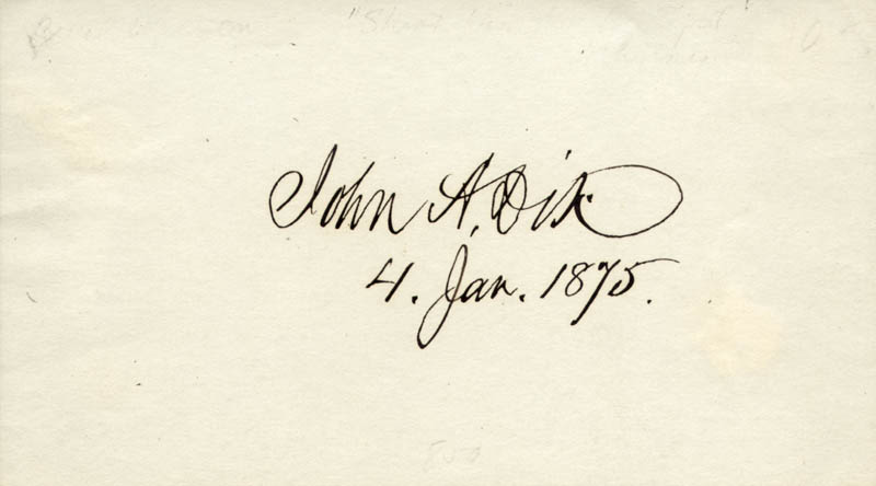 Image 1 for Major General John A. Dix - Autograph 01/04/1875 - HFSID 33569