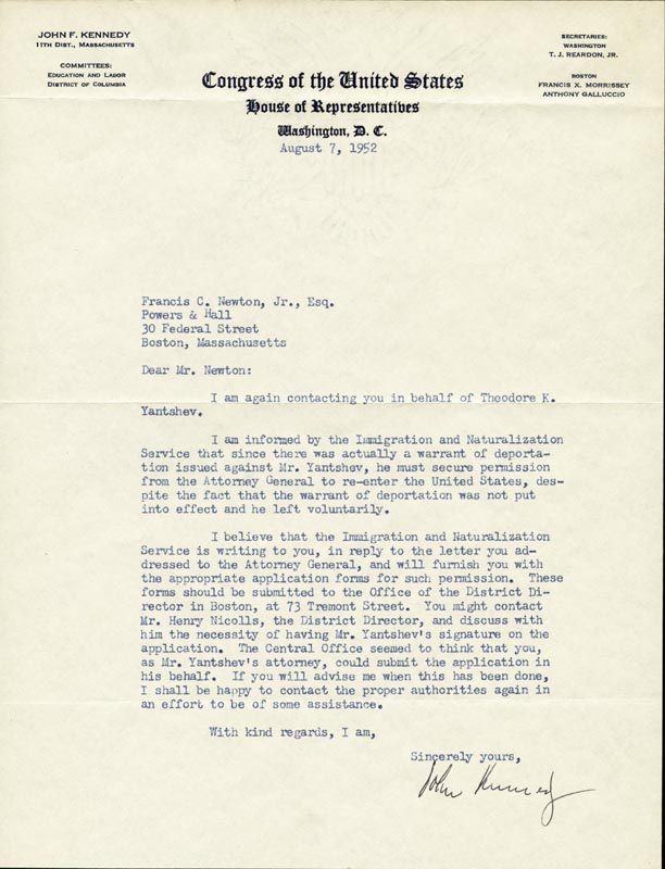 Image 1 for President John F. Kennedy - Typed Letter Signed 08/07/1952 - HFSID 33648