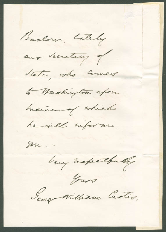 Image 1 for George William Curtis - Autograph Letter Signed 06/19/1868 - HFSID 33714