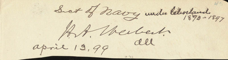 Image 1 for Hilary A. Herbert - Autograph 04/13/1899 co-signed by: Enrique Gonzalez, Lucas Amadeo - HFSID 33793