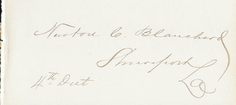 Image 1 for Newton C. Blanchard - Autograph - HFSID 33916