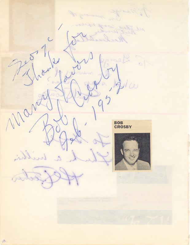 Image 1 for Bob (George Robert) Crosby - Autograph Note Signed 1952 co-signed by: Paul Coates, Al Petker, Macdonald Carey - HFSID 34029