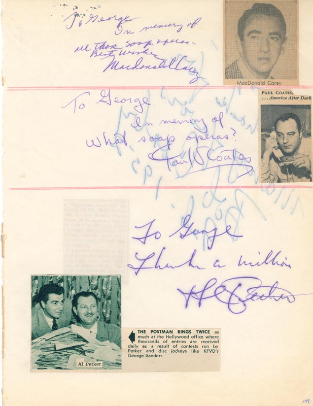 Image 3 for Bob (George Robert) Crosby - Autograph Note Signed 1952 co-signed by: Paul Coates, Al Petker, Macdonald Carey - HFSID 34029