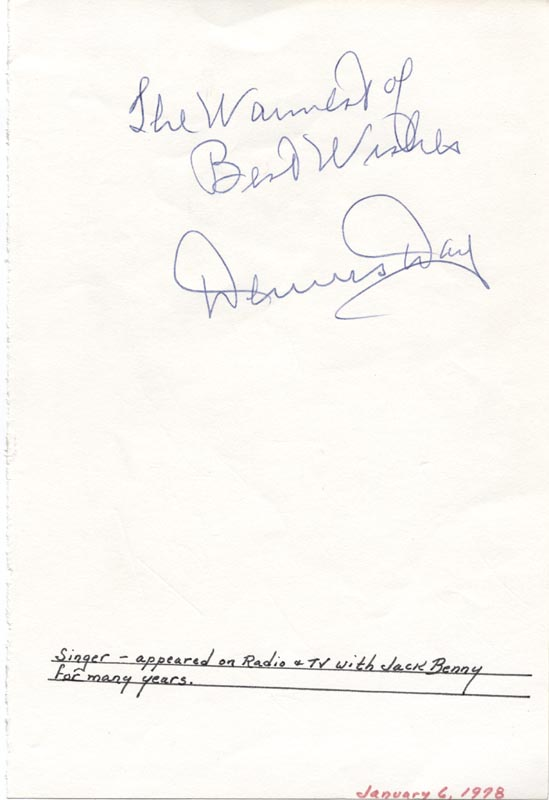 Image 1 for Dennis Day - Autograph Sentiment Signed - HFSID 34040
