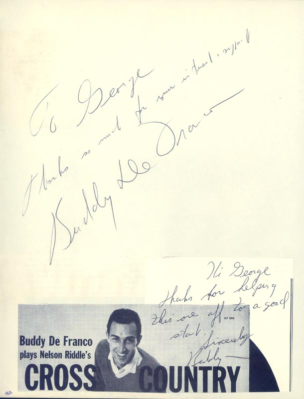 Image 1 for Buddy Defranco - Inscribed Signature co-signed by: Virginia Vincent, Reginald Gardiner - HFSID 34041