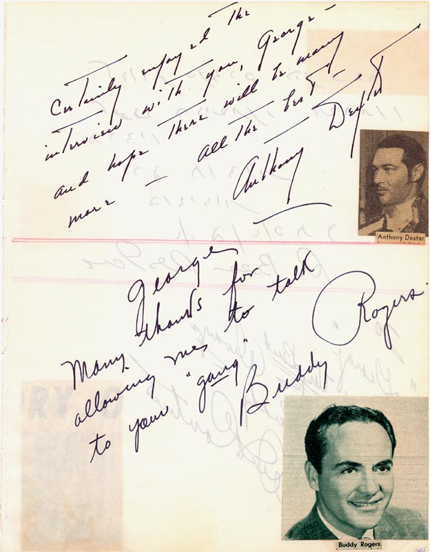 Image 1 for Charles 'Buddy' Rogers - Autograph Note Signed co-signed by: Dick Contino, Anthony Dexter - HFSID 34091