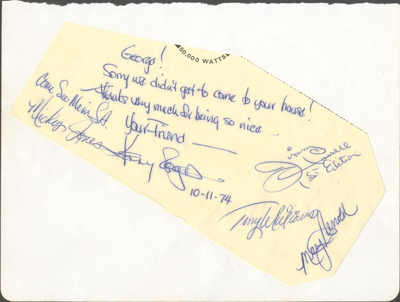 Image 1 for Kenny Rogers And The First Edition - Autograph Note Signed 10/11/1974 with co-signers - HFSID 34093