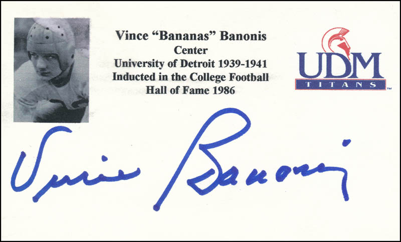 Image 1 for Vince Banonis - Printed Card Signed In Ink - HFSID 341157
