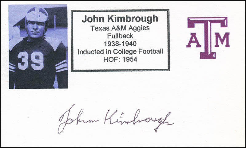 Image 1 for John Kimbrough - Printed Card Signed In Ink - HFSID 341212