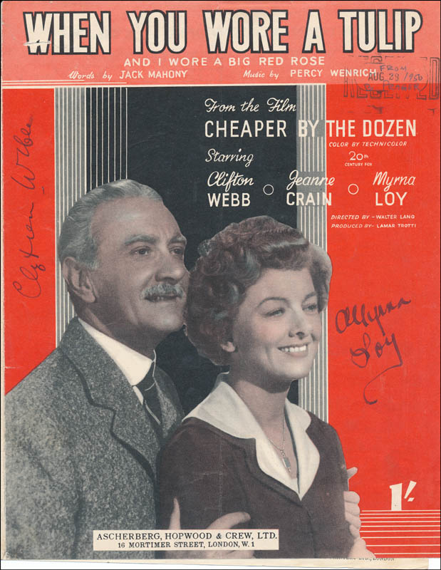 Image 1 for Cheaper By The Dozen Movie Cast - Sheet Music Signed co-signed by: Myrna Loy, Clifton Webb - HFSID 341253