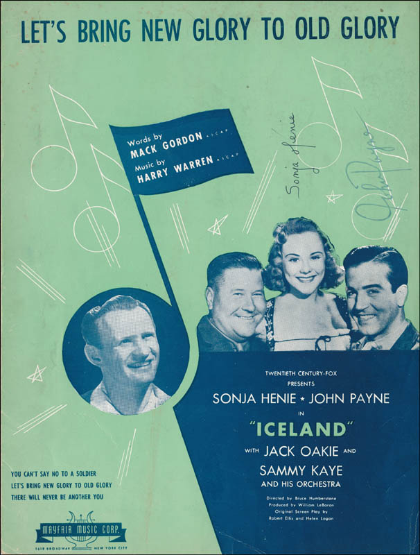 Image 1 for Iceland Movie Cast - Sheet Music Signed co-signed by: John Payne, Sonja Henie - HFSID 341262