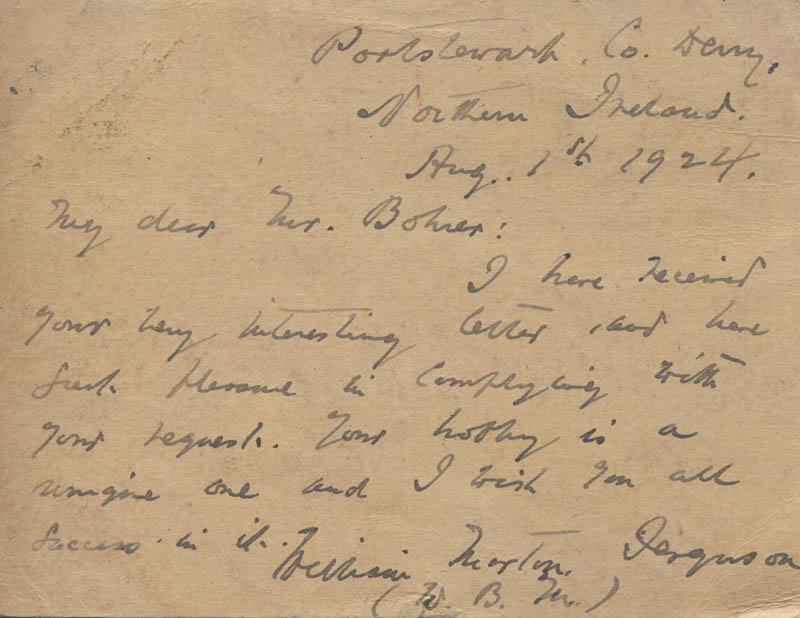 Image 1 for William B. Morton Ferguson - Autograph Letter Signed 08/01/1924 - HFSID 341415