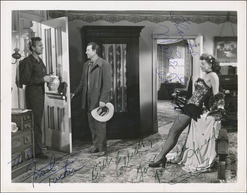 Image 1 for Hellfire Movie Cast - Autographed Signed Photograph co-signed by: Bill 'Wild Bill' Elliott, Marie Windsor, Forrest Tucker - HFSID 341461