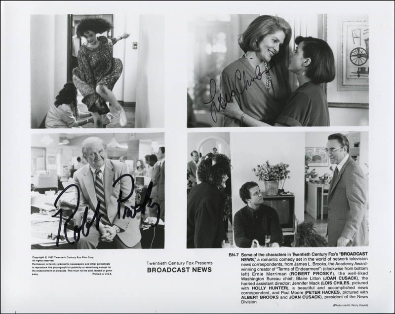 Image 1 for Broadcast News Movie Cast - Printed Photograph Signed In Ink co-signed by: Robert Prosky, Lois Chiles - HFSID 341500