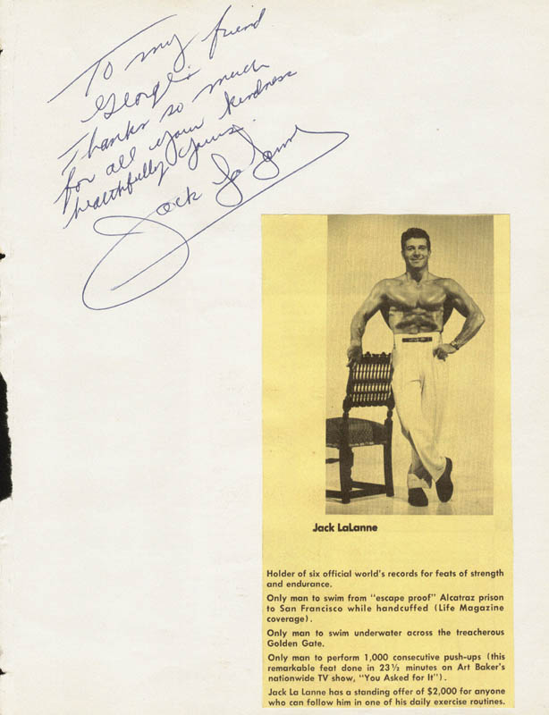 Image 3 for Jack Lalanne - Autograph Note Signed 01/29/1962 co-signed by: Maria Fletcher - HFSID 34153