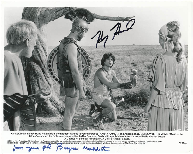 Image 1 for Clash Of The Titans Movie Cast - Printed Photograph Signed In Ink co-signed by: Harry Hamlin, Burgess Meredith - HFSID 341625