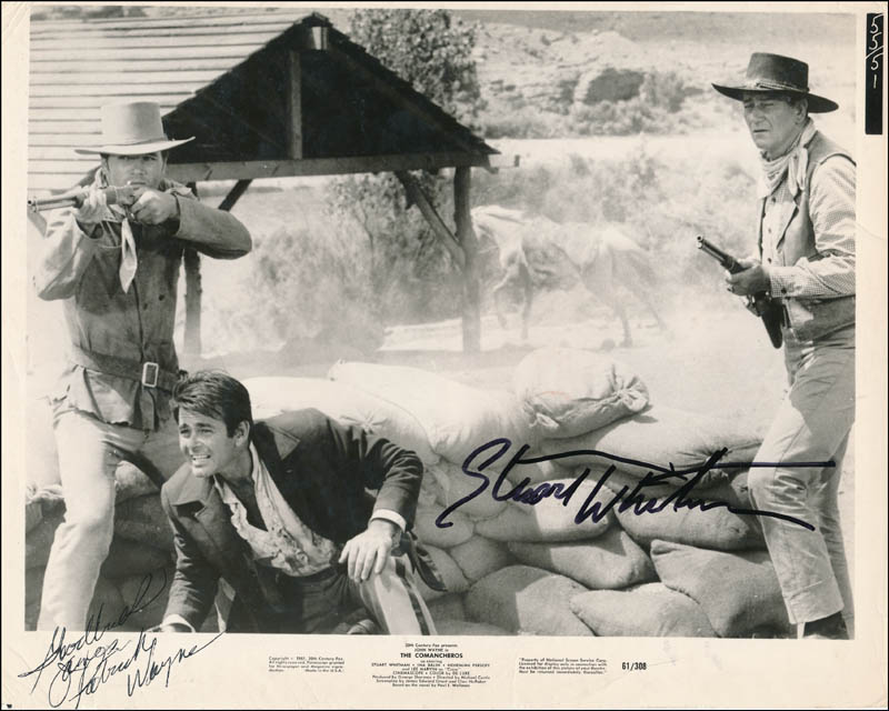 Image 1 for The Comancheros Movie Cast - Inscribed Printed Photograph Signed In Ink co-signed by: Patrick Wayne, Stuart Whitman - HFSID 341643