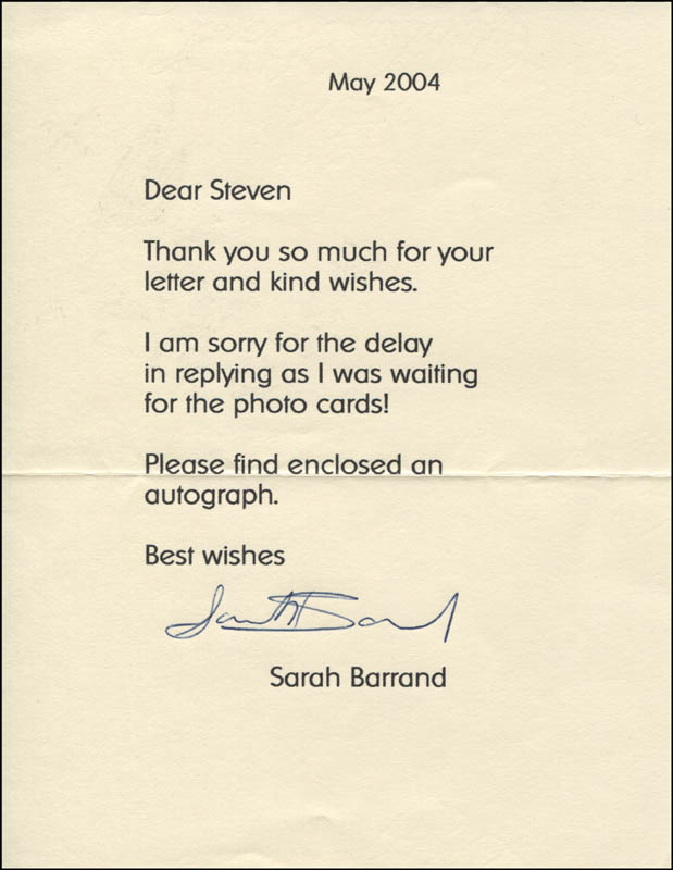 Image 1 for Sarah Barrand - Typed Letter Signed 05/2004 - HFSID 341738