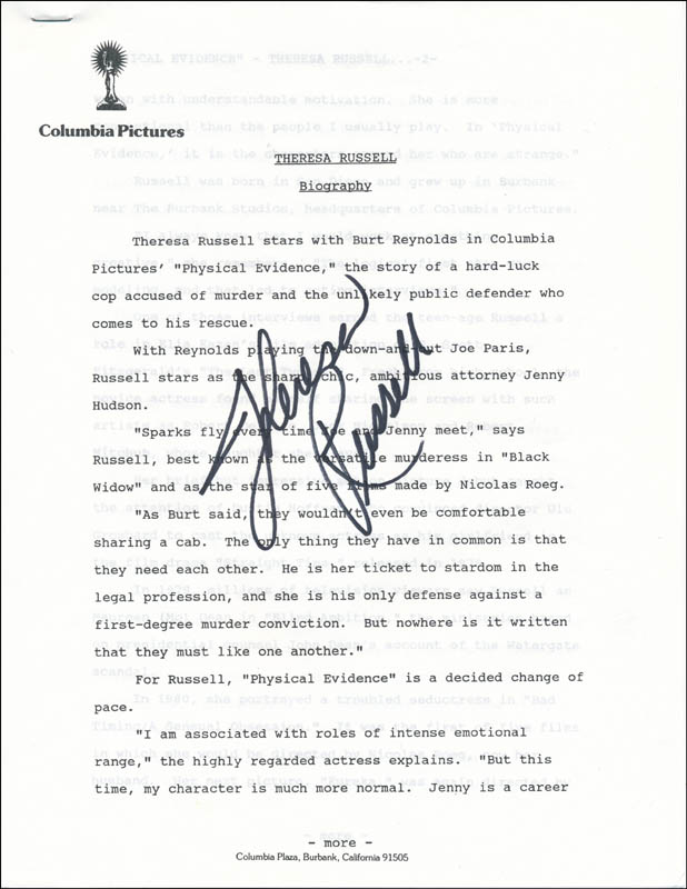 Image 1 for Theresa Russell - Biography Signed - HFSID 341816