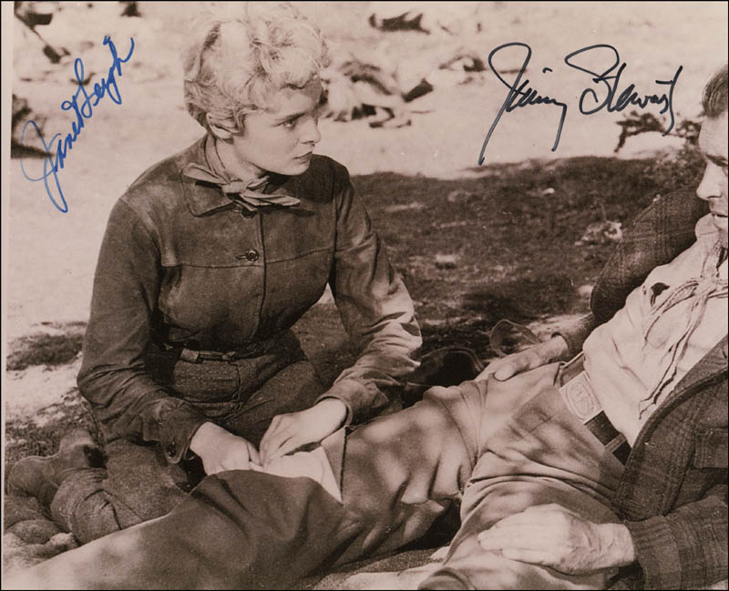 Image 1 for The Naked Spur Movie Cast - Autographed Signed Photograph co-signed by: James 'Jimmy' Stewart, Janet Leigh - HFSID 342055