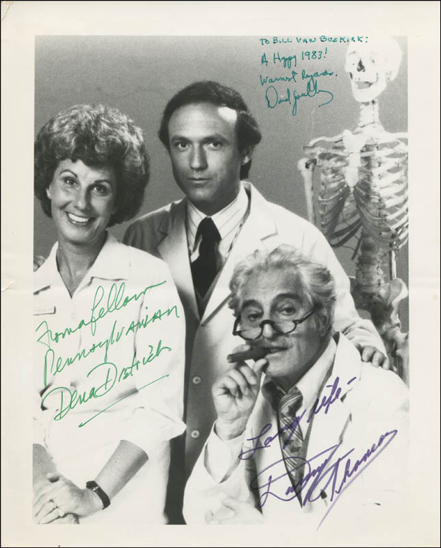 Image 1 for The Practice TV Cast - Autographed Inscribed Photograph 1983 co-signed by: Dena Dietrich, David Spielberg, Danny Thomas - HFSID 342061