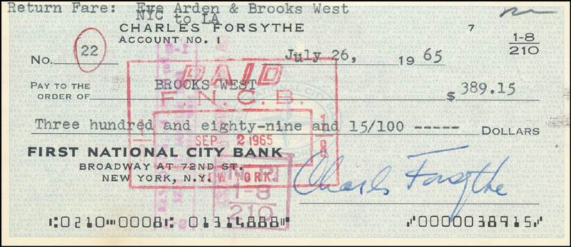 Image 1 for Charles Forsythe - Autographed Signed Check 07/26/1965 co-signed by: Brooks West - HFSID 342253