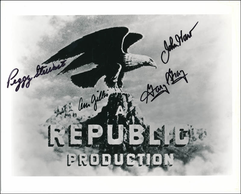 Image 1 for John Hart - Autographed Signed Photograph co-signed by: Peggy Stewart, Ann Gillis, Gary Gray - HFSID 342330