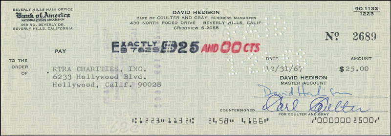 Image 1 for David Hedison - Autographed Signed Check 12/31/1967 - HFSID 342403