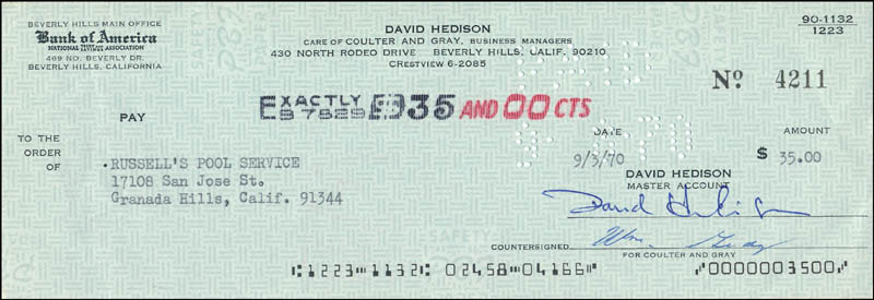 Image 1 for David Hedison - Autographed Signed Check 09/30/1970 - HFSID 342406