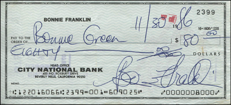 Image 1 for Bonnie Franklin - Autographed Signed Check 11/30/1986 - HFSID 342412
