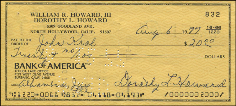 Image 1 for Dorothy Lamour - Autographed Signed Check 08/06/1977 - HFSID 342422
