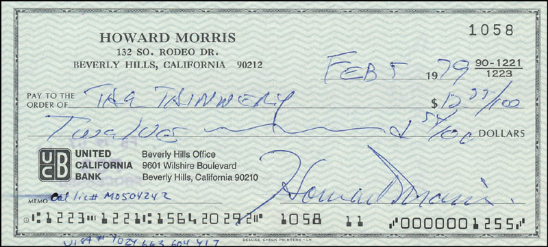 Image 1 for Howard Morris - Autographed Signed Check 02/05/1979 - HFSID 342426