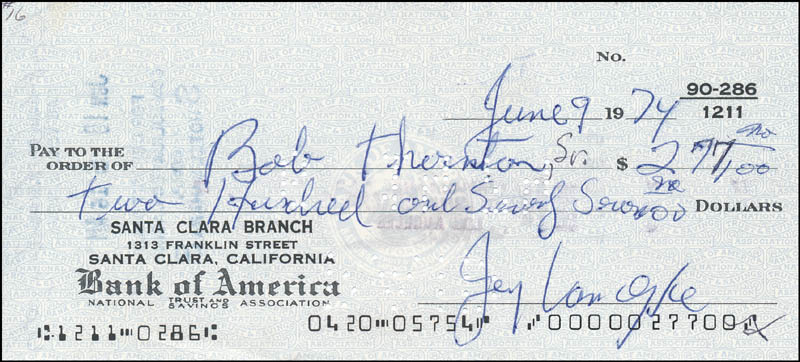Image 1 for Jerry Van Dyke - Autographed Signed Check 06/09/1974 - HFSID 342433