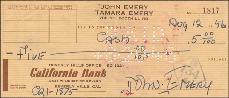 Image 1 for John Emery - Autographed Signed Check 08/12/1946 - HFSID 342437