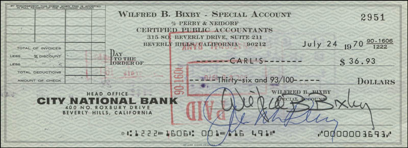 Image 1 for Bill Bixby - Autographed Signed Check 07/24/1970 - HFSID 342451