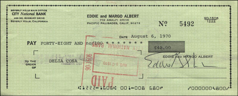Image 1 for Eddie Albert - Autographed Signed Check 08/06/1970 - HFSID 342455