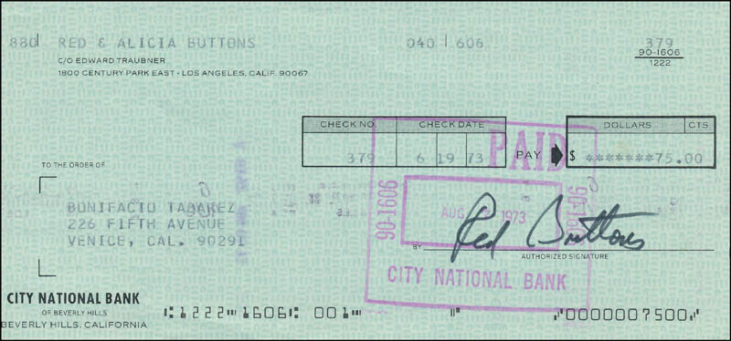 Image 1 for Red Buttons - Autographed Signed Check 06/19/1973 - HFSID 342460