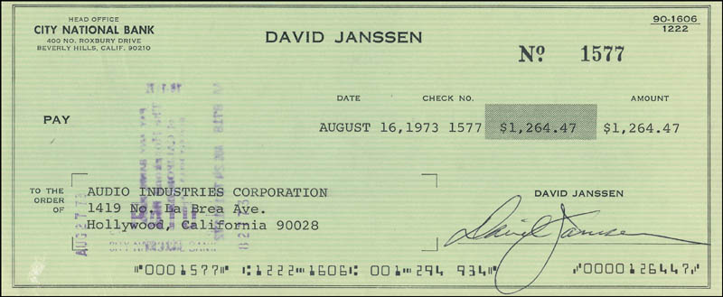 Image 1 for David Janssen - Autographed Signed Check 08/16/1973 - HFSID 342469